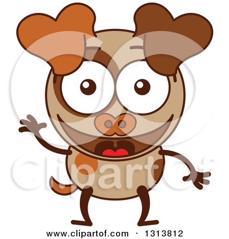 Clipart of a Cartoon Brown Dog Character Waving - Royalty Free Vector Illustration by Zooco