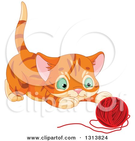 Clipart of a Cute Tabby Ginger Kitten About to Pounce on a Ball of Yarn - Royalty Free Vector Illustration by Pushkin