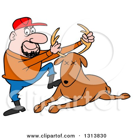 Clipart of a Cartoon Caucasian Male Hunter Holding up a ...