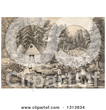 Clipart of a Historical Lithograph Scene of Pioneer Hunters and Dogs Approaching a Western Frontier Home and Family by a Stream - Royalty Free Illustration by Picsburg
