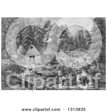 Clipart of a Historical Grayscale Lithograph Scene of Pioneer Hunters and Dogs Approaching a Western Frontier Home and Family by a Stream - Royalty Free Illustration by Picsburg