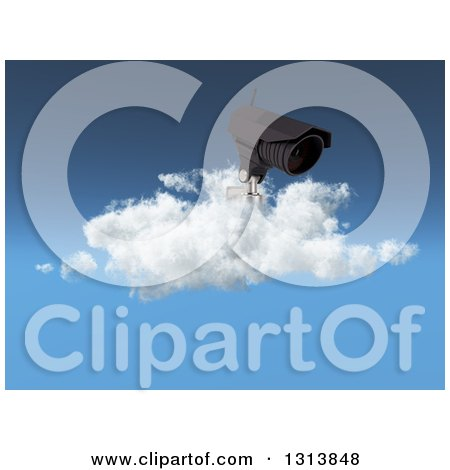Clipart of a 3d CCTV Surveillance Security Camera on a Cloud Against Blue Sky - Royalty Free Illustration by KJ Pargeter