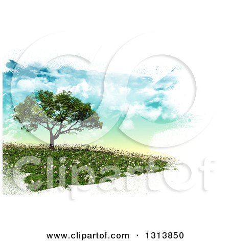 Clipart of a 3d Tree on a Hill with Spring Time Daisies, Bordered in White Brush Paint Strokes - Royalty Free Illustration by KJ Pargeter