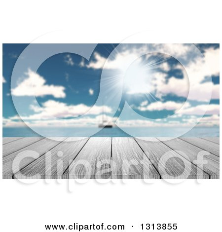 Clipart of a 3d Wood Table with a View of a Yacht out at Sea on a Sunny Day - Royalty Free Illustration by KJ Pargeter