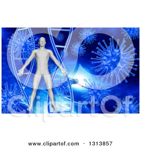 Clipart of a 3d Man over Blue DNA and Viruses - Royalty Free Illustration by KJ Pargeter