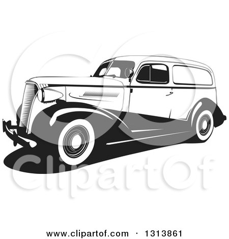 Clipart of a Black and White Vintage Wagon Car - Royalty Free Vector Illustration by David Rey