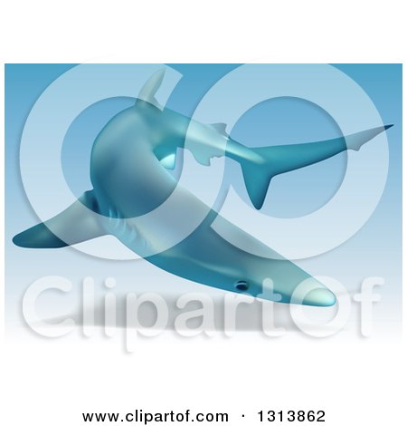 Clipart of a 3d Swimming Blue Shark - Royalty Free Vector Illustration by dero