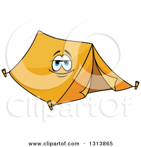 Clipart of a Cartoon Smiling Orange Tent Character - Royalty Free Vector Illustration by Vector Tradition SM