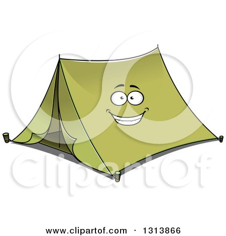 Clipart of a Cartoon Smiling Green Tent Character - Royalty Free Vector Illustration by Vector Tradition SM