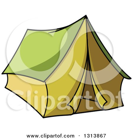 Clipart of a Cartoon Green Tent - Royalty Free Vector Illustration by Vector Tradition SM