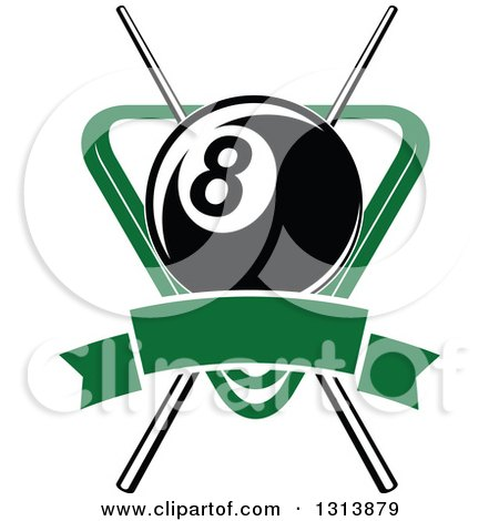 Clipart of a Billiard Eightball over Crossed Cue Sticks and a Green Rack with a Blank Banner - Royalty Free Vector Illustration by Vector Tradition SM