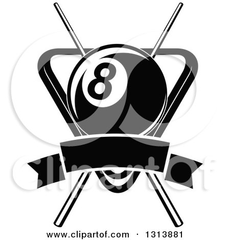 Clipart of a Black and White Billiard Eightball over Crossed Cue Sticks and a Rack with a Blank Banner - Royalty Free Vector Illustration by Vector Tradition SM