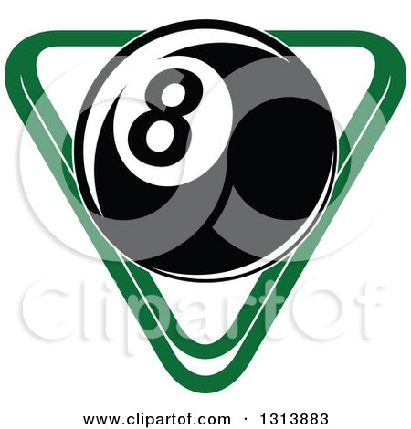 Clipart of a Billiard Eightball over a Green Rack - Royalty Free Vector Illustration by Vector Tradition SM