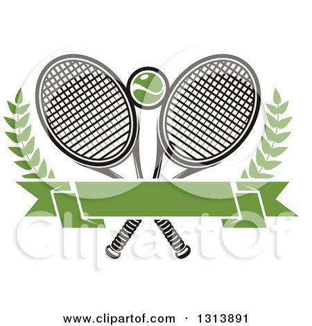 Clipart of Crossed Tennis Rackets with a Ball, Branches and a Blank Green Banner - Royalty Free Vector Illustration by Vector Tradition SM