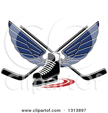 Clipart of a Blue Winged Ice Hockey Skate with Crossed Sticks - Royalty Free Vector Illustration by Vector Tradition SM