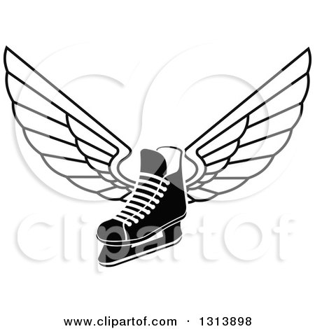 Clipart of a Black and White Winged Ice Hockey Skate - Royalty Free Vector Illustration by Vector Tradition SM