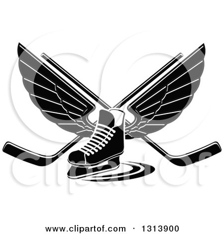 Clipart of a Black and White Winged Ice Hockey Skate with Crossed Sticks - Royalty Free Vector Illustration by Vector Tradition SM