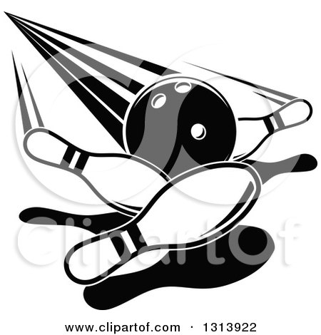 Clipart of a Black and White Bowling Ball Knocking down Pins - Royalty Free Vector Illustration by Vector Tradition SM
