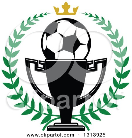 Clipart of a Soccer Ball in a Championship Trophy Cup Within a Green Wreath with a Gold Crown - Royalty Free Vector Illustration by Vector Tradition SM