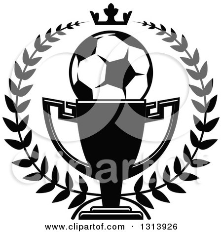 Clipart of a Black and White Soccer Ball in a Championship Trophy Cup Within a Wreath with a Crown - Royalty Free Vector Illustration by Vector Tradition SM