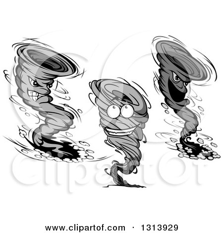 Clipart of Grayscale Twister Tornado Characters - Royalty Free Vector Illustration by Vector Tradition SM