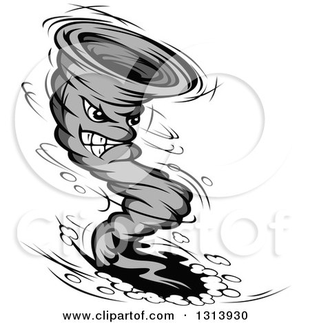 Clipart of a Grayscale Twister Tornado Character 9 - Royalty Free Vector Illustration by Vector Tradition SM