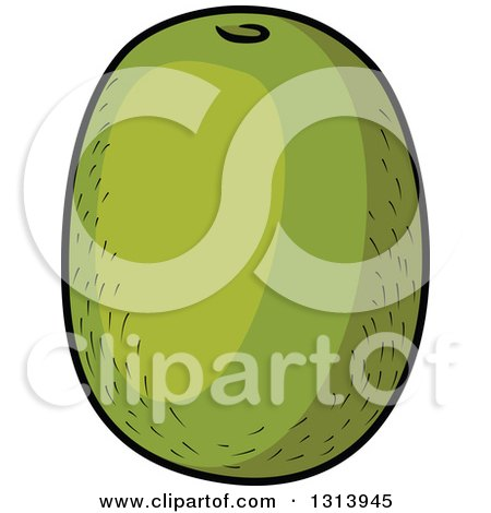 Kiwi Fruit Silhouette Cartoon Green Kiwi Fruit
