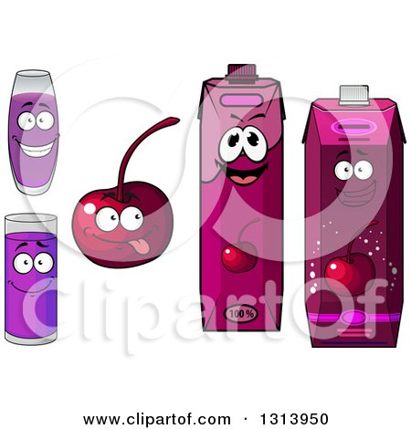 Clipart of a Happy Cherry Character, Cups and Juice Cartons 2 - Royalty Free Vector Illustration by Vector Tradition SM
