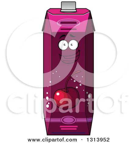 Clipart of a Happy Cherry Juice Carton 4 - Royalty Free Vector Illustration by Vector Tradition SM