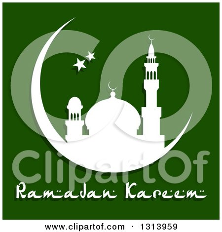 Clipart of a White Silhouetted Mosque in a Crescent Moon with Stars and Ramadan Kareem Text for Muslim Holy Month over Green - Royalty Free Vector Illustration by Vector Tradition SM