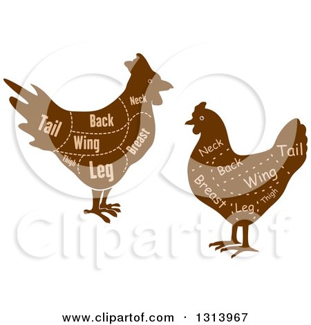 Clipart of Brown Silhouetted Chickens with Cuts of Poultry Meat and Text - Royalty Free Vector Illustration by Vector Tradition SM