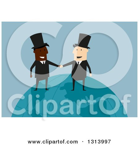 Clipart of Flat Design White and Black Industrialist Business Men Shaking Hands on a Globe, over Blue - Royalty Free Vector Illustration by Vector Tradition SM