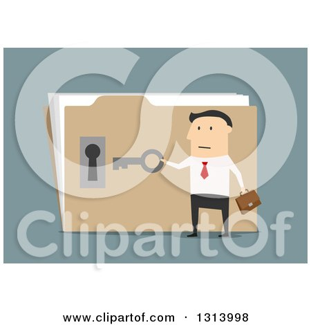 Clipart of a Flat Design White Businessman Opening a Confidential Folder, on Blue - Royalty Free Vector Illustration by Vector Tradition SM