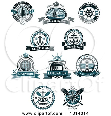 Clipart of Blue Nautical Maritime Labels with Text - Royalty Free Vector Illustration by Vector Tradition SM