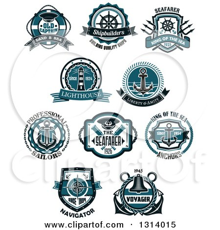 Clipart of Blue Nautical Maritime Labels with Text 2 - Royalty Free Vector Illustration by Vector Tradition SM