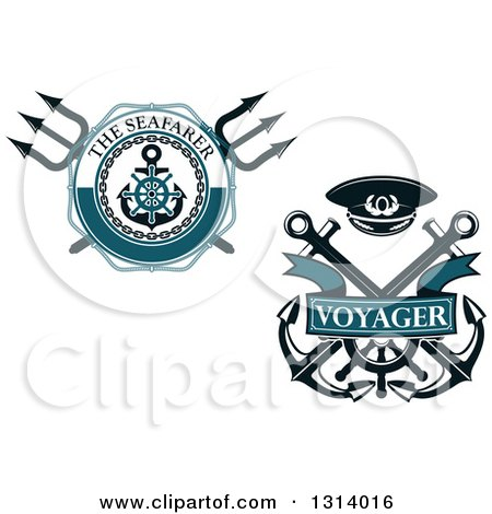 Clipart of Nautical Maritime Trident and Anchor Designs with Text - Royalty Free Vector Illustration by Vector Tradition SM