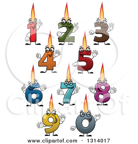 Clipart of Cartoon Colorful Numbered Birthday Candle Characters - Royalty Free Vector Illustration by Vector Tradition SM