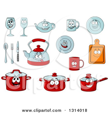 Clipart of Cartoon Dish Characters - Royalty Free Vector Illustration by Vector Tradition SM
