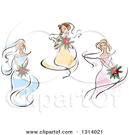 Clipart of a Sketched Brides in Yellow, Pink and Blue Dresses 2 - Royalty Free Vector Illustration by Vector Tradition SM