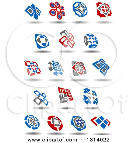 Clipart of Blue, Gray and Red Windmill Designs 4 - Royalty Free Vector Illustration by Vector Tradition SM