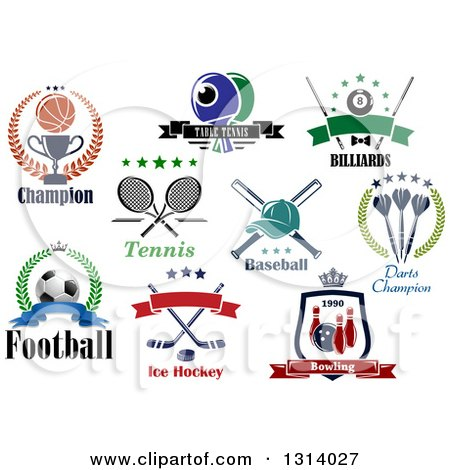 Clipart of Basketball, Ping Pong, Billiards, Tennis, Baseball, Darts, Soccer, Ice Hockey and Bowling Sports Designs with Text - Royalty Free Vector Illustration by Vector Tradition SM