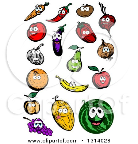 Clipart of a Carrot, Chili Pepper, Potato, Beet, Tomato, Eggplant, Red Bell Pepper, Yellow Onion, Garlic, Pear, Apple, Banana, Orange, Apricot, Melon, Watermelon and Grapes Characters - Royalty Free Vector Illustration by Vector Tradition SM