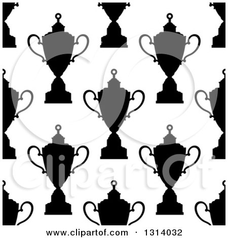 Clipart of a Seamless Background Pattern of Black and White Silhouetted Urns or Trophies 3 - Royalty Free Vector Illustration by Vector Tradition SM
