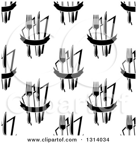 Clipart of a Seamless Black and White Background Pattern of Forks, Knives and Napkins - Royalty Free Vector Illustration by Vector Tradition SM