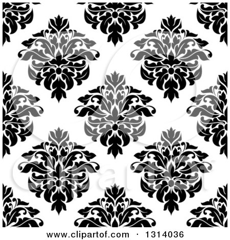 Clipart of a Seamless Pattern Background of Vintage Damask in Black on White 3 - Royalty Free Vector Illustration by Vector Tradition SM