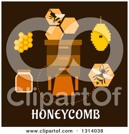 Clipart of a Flat Design of Bees, Honeycombs Around a Box, with Text on Brown - Royalty Free Vector Illustration by Vector Tradition SM