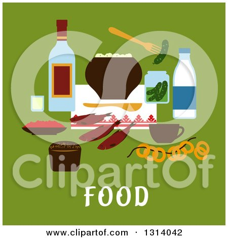 Clipart of a Flat Design of Traditional Russian Foods over Text on Green - Royalty Free Vector Illustration by Vector Tradition SM