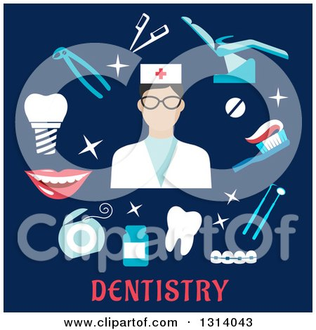 Clipart of a Flat Design of a Female Dentist with Tools and Items over Text on Blue - Royalty Free Vector Illustration by Vector Tradition SM