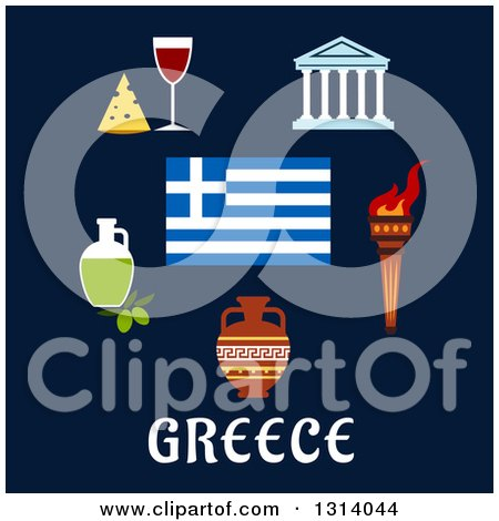 Clipart of a Flat Design of Traditional Greek Items and Flag over Text on Blue - Royalty Free Vector Illustration by Vector Tradition SM