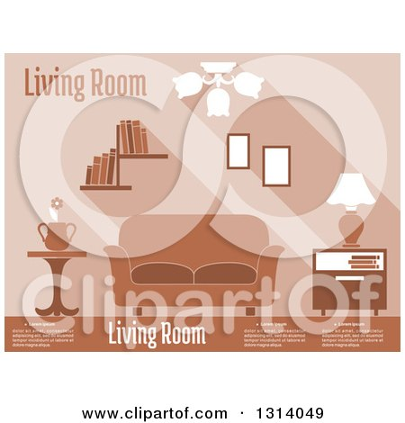 Clipart of a Brown Living Room Interior with Sample Text - Royalty Free Vector Illustration by Vector Tradition SM